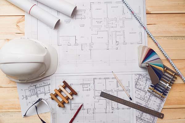 architecture drawing desk construction site workin P33Y6FL